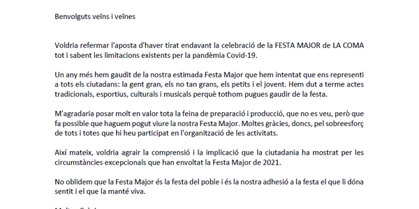 Agraïments de l'Alcalde per la Festa Major