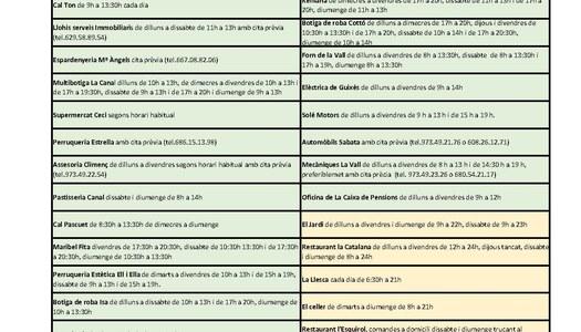 Horaris dels comerços, establiments i serveis a la Vall