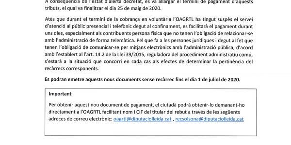 Informació sobre la primera cobrança de l'OAGRTL